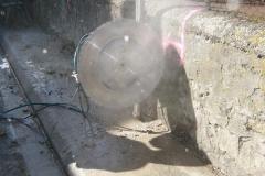 sciage du muret en pierre